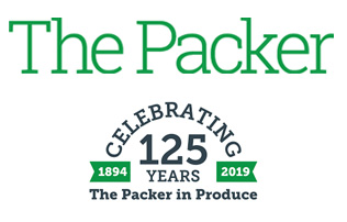 "The packer written in large green font above words saying ""celebrating 125 years the packer in produce"""