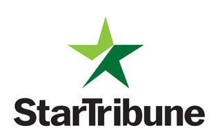 """StarTribune"" written in black block font underneath a two-toned green star all on a white background"