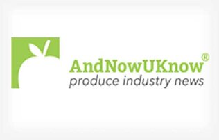 white apple silhouette on a green square next to green font that says AndNowUKnow above black font that says produce industry news