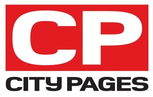 City Pages Logo with white and Black lettering on red and white backgrounds
