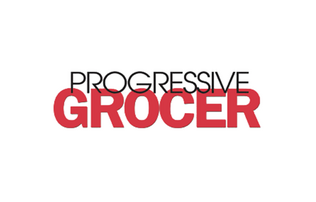 Progressive Grocer Logo in Black and red font