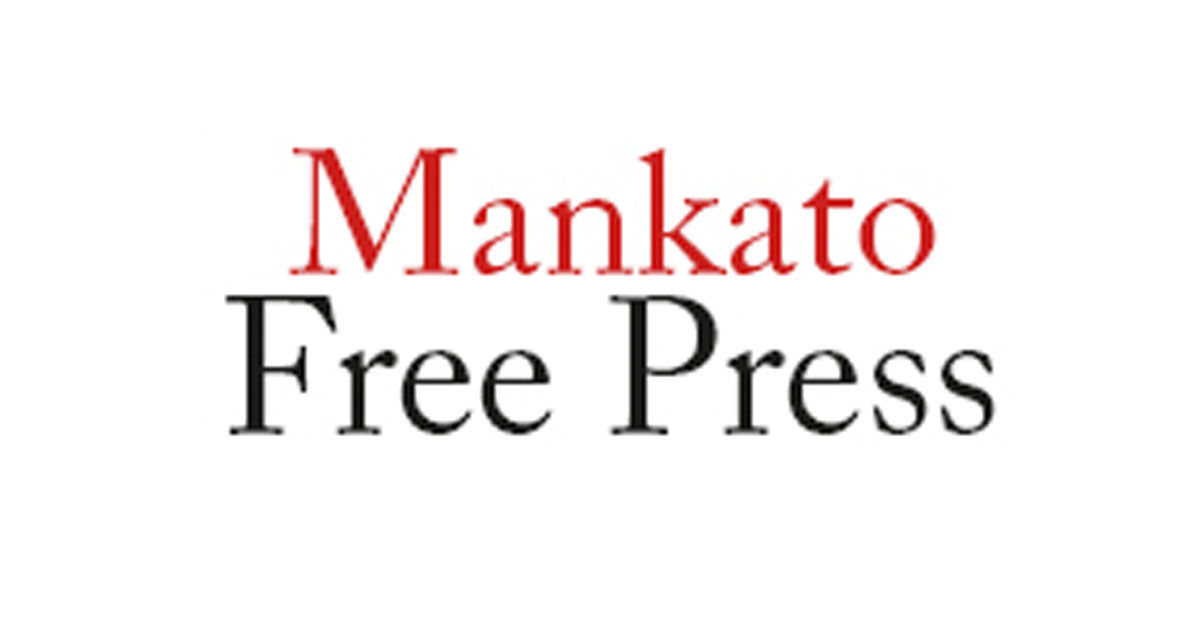 """Mankato"" written in red Times New Roman font above ""Free Press"" in the same black font."