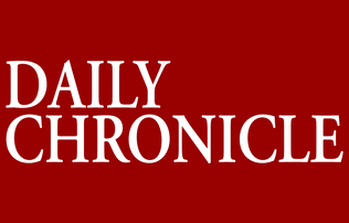 """Daily Chronicle"" written in white font in large letters on a pure red background"
