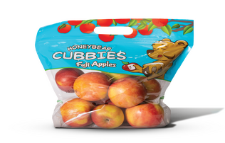 image of Honeybear Cubbies fuji apples. A clear bag with a blue top featuring a yellow bear sitting under an apple tree next to the word Cubbies.