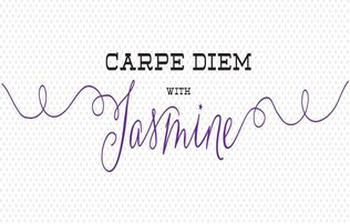 """Carpe Diem with"" written in black font above the name jasmine which is written in curly purple cursive"