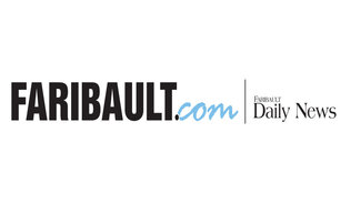 """Fairbault.com"" and ""Faribault Daily News"" written in both black block font and black thin font, all sitting on a white background. A line sits vertically between the two phrases"