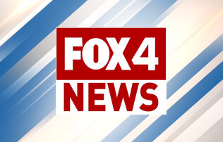"""Fox4 News"" written in red and white font on a white and red square on a blue and beige background"