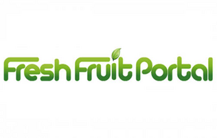 """Fresh Fruit Portal written in Green bubble font with a leaf taking place of the dot in the letter """"i"""""""