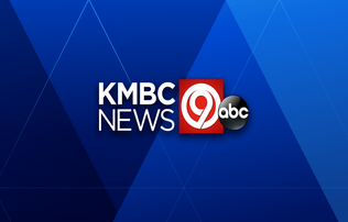 """KMBC News"" written in large white block font positioned next to a white ""9"" set inside of a red box next to ""abc"" written in white font in a black circle. All of this is set on a blue checkered background"