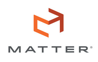 "Orange abrstract cubes outline above the word ""matter"" written in grey block font"