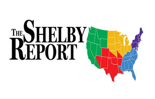 """The Shelby Report"" written in large black lettering sitting next to a United States map coded by region in green, yellow, red, blue, and purple"