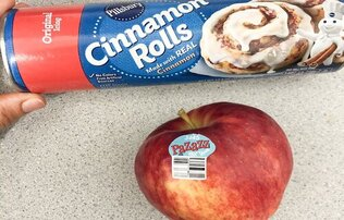 can of cinnamon rolls by pillsbury sitting above a brightly colored Pazazz apple