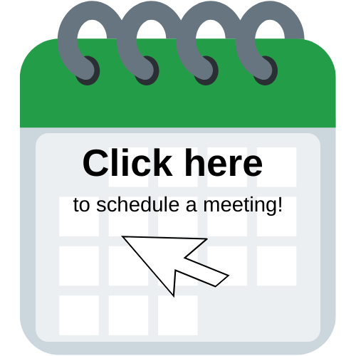 """Green and white calendar that reads """"Click here to schedule a meeting!"""""""